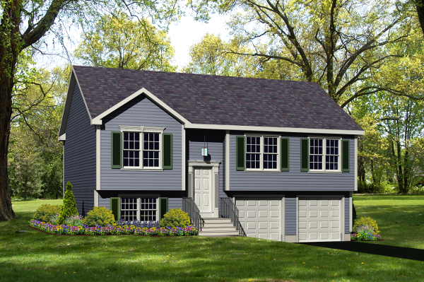 raised ranch house plan rendering 9045-RR_f