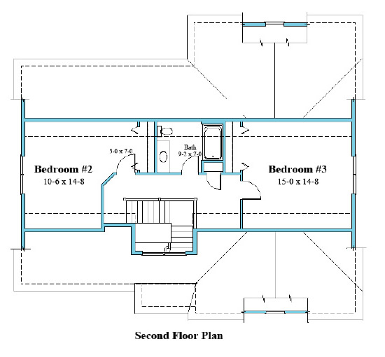 cape house plan second floor plan 9578-CP_2