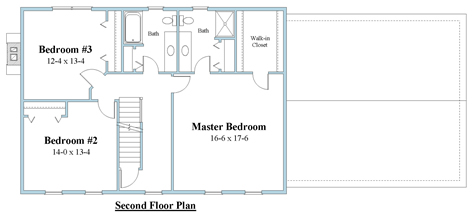colonial house plan second floor plan 7595_2