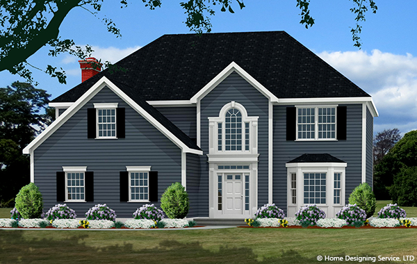 colonial house plan rendering 8243_CL_colonial_house_f