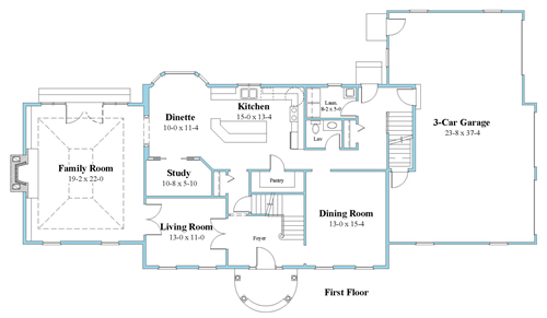 colonial house plan first floor_9166-CL_1