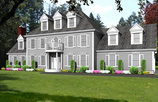 colonial house plan rendering_9166-CL_f