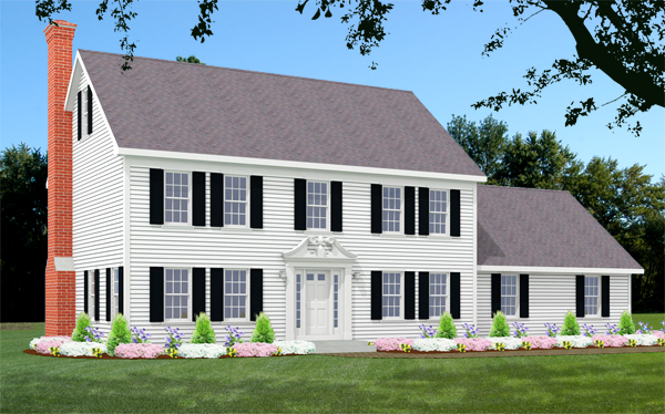 Colonial house plan rendering 7595-CL_f