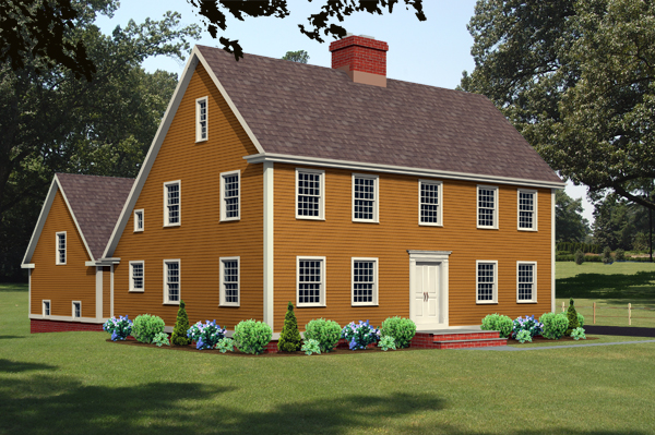 Salt box house plan rendering 8112_sb_f