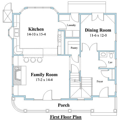 Shingle style house plan 1st floor_8776u_1