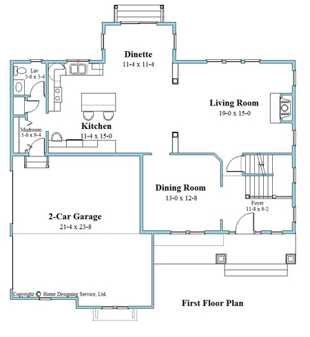 craftsman house plan first floor 9618-U-1