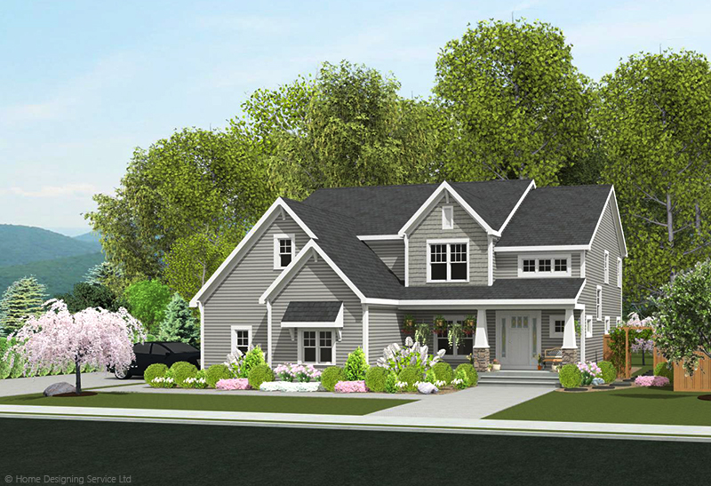 9618-U unique traditional style house plan 3d rendering