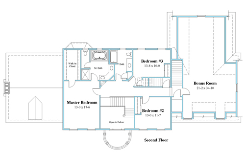 colonial house plan second floor_9166-CL_2