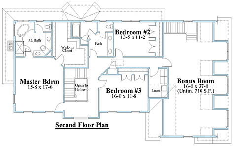 colonial house plan second floor_8614cl_2