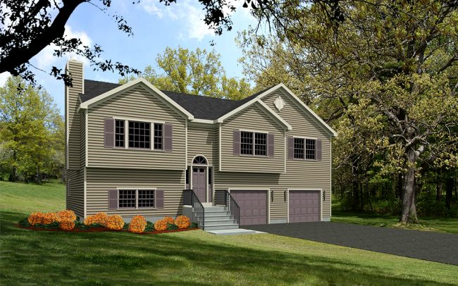 10140-RR-1-web raised ranch house plan rendering