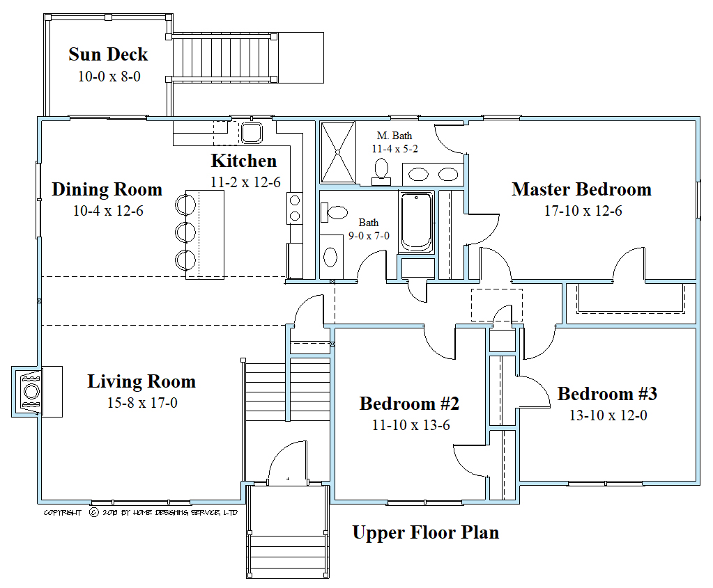 raised ranch upper floor plan 10140-RR-2