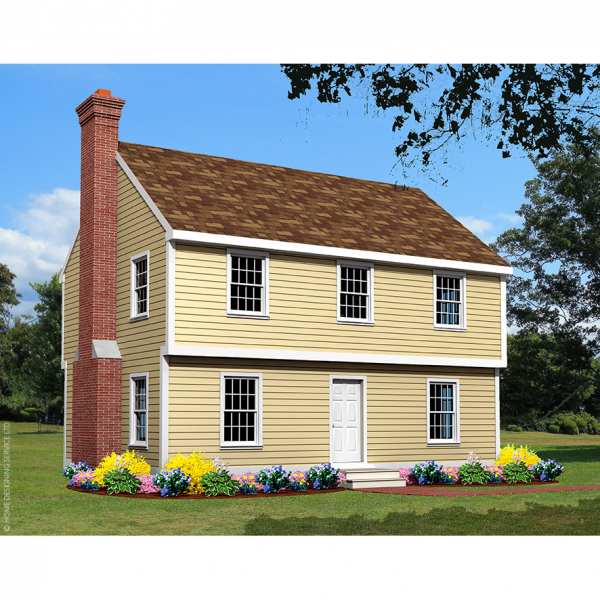 6619-CL colonial house plan 3d rendering sq