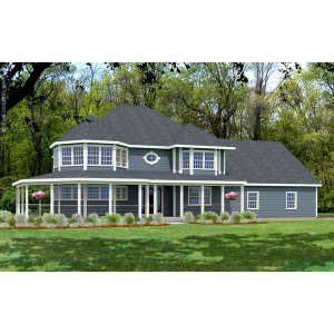 10107-U unique traditional house plan 3d rendering sq