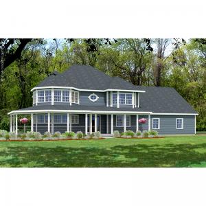 10107-U unique traditional house plan 3d rendering sq