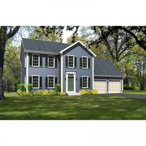 10117-CL-colonial style house plan 3d rendering sq