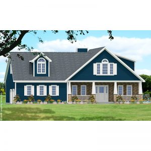 9592-CL-colonial style house plan 3d rendering sq
