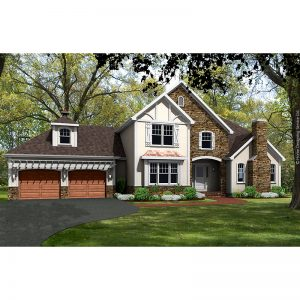 9608-U unique traditional style house plan 3d rendering sq