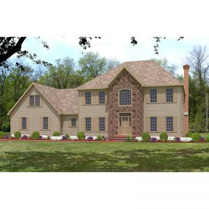 9982-CL-colonial style house plan 3d rendering sq