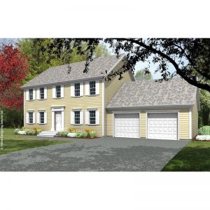 6771-CL-colonial style house plan 3d rendering sq