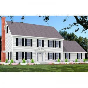 7595-CL-colonial style house plan 3d rendering sq