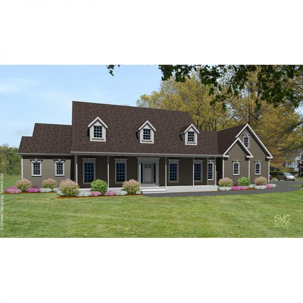 8557-CP-cape style house plan 3d rendering sq