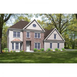 8584-CL-colonial style house plan 3d rendering sq