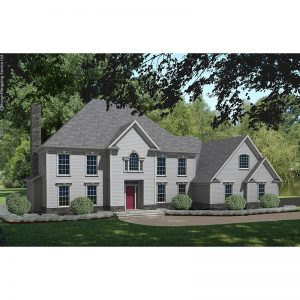 8614-CL-colonial style house plan 3d rendering sq