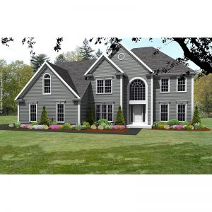 8632-CL-colonial style house plan 3d rendering sq