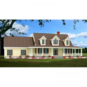 8648-CP-cape style house plan 3d rendering sq