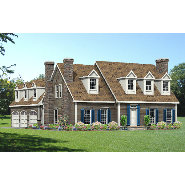 8673-CP-cape style house plan 3d rendering sq