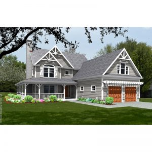 9519-U unique traditional style house plan 3d rendering sq