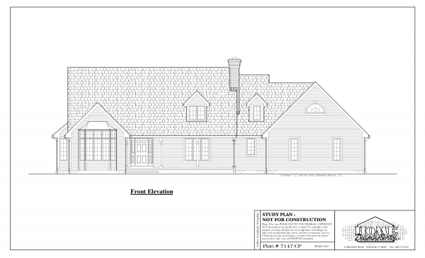 ss-7147cp-1 3 bedroom 2 bathroom cape house plan