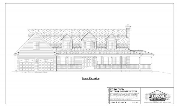 ss-7148cp-1 3 bedroom 3 bathroom cape house plan