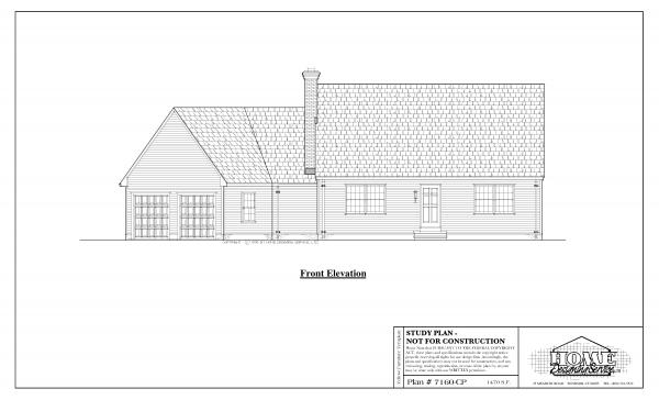 ss-7160cp-1 3 bedroom 2 bathroom cape house plan