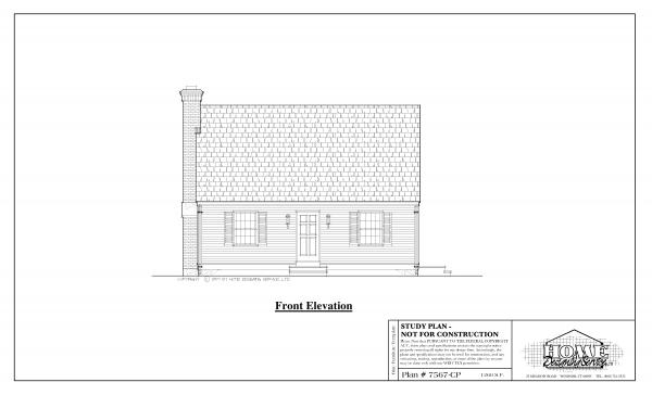 ss-7567cp-1 2 bedroom 1 bathroom cape house plan