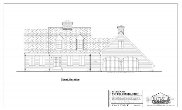 ss-7597cp-1 3 bedroom 2 bathroom cape house plan