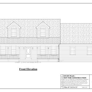 ss-7670cp-1 3 bedroom 2 bathroom cape house plan