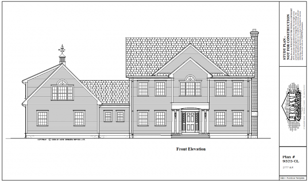 ss-9325cl-1 4 bedroom 2 bathroom colonial house plan