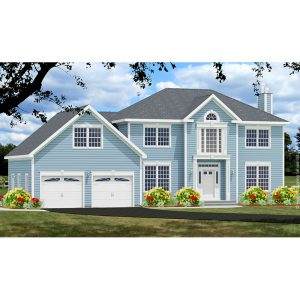 8726-CL-colonial style house plan 3d rendering sq