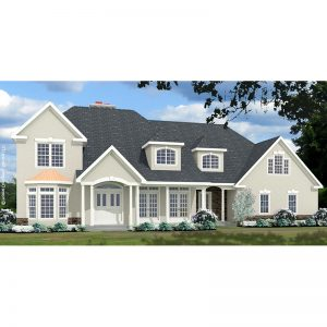 9035-U unique traditional style house plan 3d rendering sq