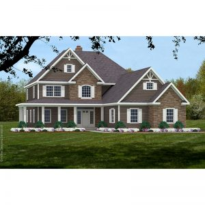 9047-U-L unique traditional style house plan 3d rendering sq