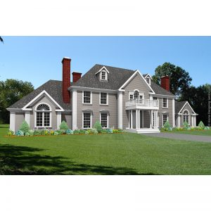 9069-CL-L-colonial style house plan 3d rendering sq