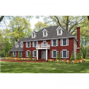9156-CL-colonial style house plan 3d rendering sq