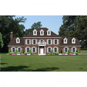 9166-CL-colonial style house plan 3d rendering sq
