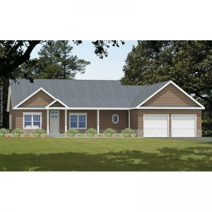 10011-R ranch style house plan 3d rendering sq