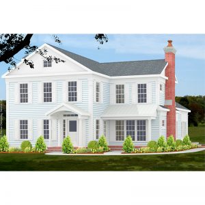 10032-CL-L-colonial style house plan 3d rendering sq