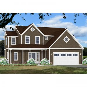 10033-U-L unique traditional style house plan 3d rendering sq